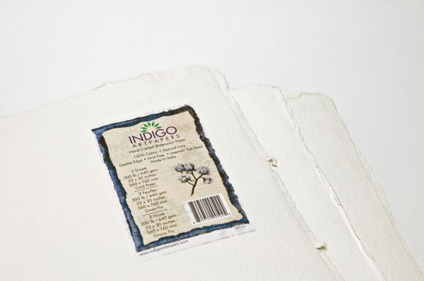 "Indigo Artpapers Watercolor 75% Cotton/25% Plant Fiber 22"" X 30"" 300g"