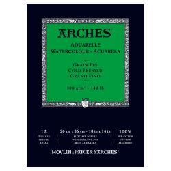 "Arches 10"" X 14"" 140 Lb./300g Cold Press Watercolor Pad, 12 Sheets, Natural White"