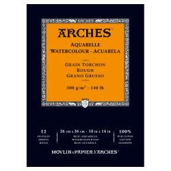 "Arches 10"" X 14"" 140 Lb./300g Rough Watercolor Pad, 12 Sheets, Natural White"