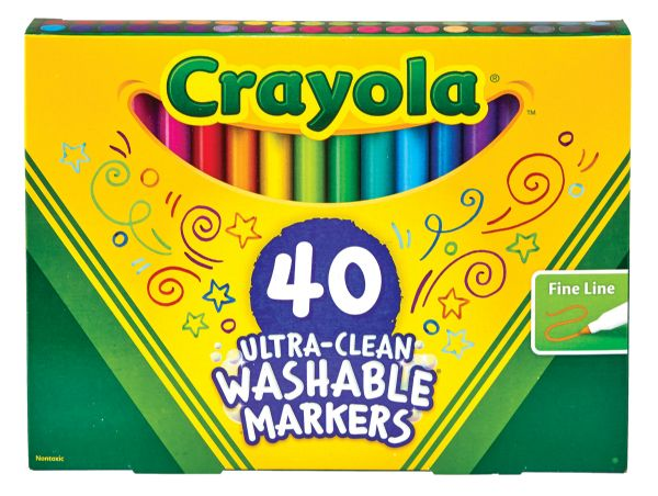 Crayola 40 Count Ultra-Clean Markers, Fine Line
