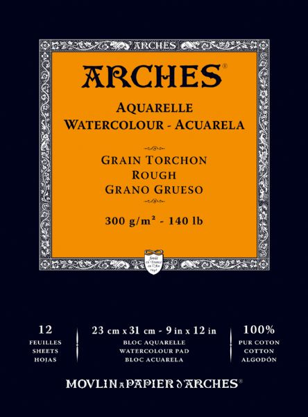 "Arches 9"" X 12"" 140 Lb./300g Rough Watercolor Pad, 12 Sheets, Natural White"