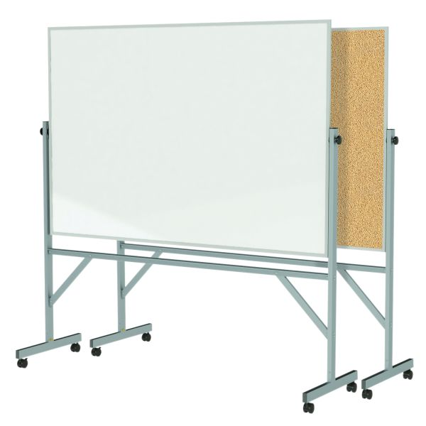 Ghent Aluminum Frame Reversible Double-Sided Whiteboard/Corkboard 4' X 6'