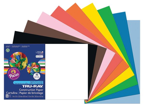 "Pacon® Tru-Ray® Construction Paper Assorted Colors 12"" X 18"""
