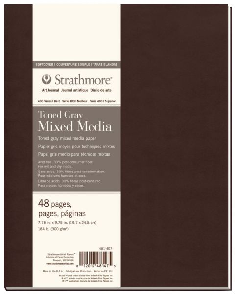 "Strathmore 400 Series Strathmore® 400 Series Toned Mixed Media Gray Art Journal 7.75"" X 9.75"""