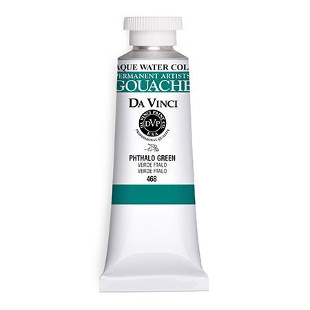 Da Vinci Artists' Gouache Opaque Watercolor 37ml Phthalo Green: Green, Tube, 37 ml, Gouache, Watercolor