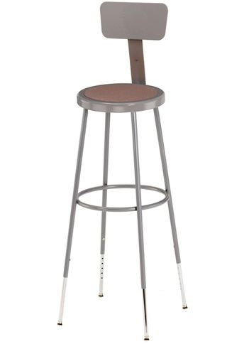 "National Public Seating Corp Stool With Adjustable Backrest 37"" - 39"""