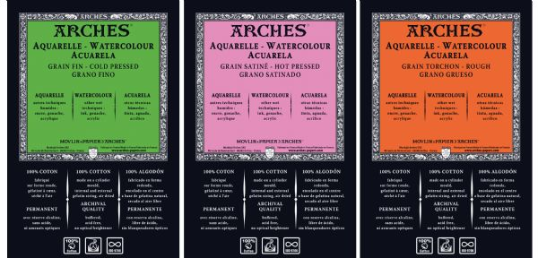 "Arches 22"" X 30"" 400 Lb./850g. Cold Press Watercolor Sheets, Natural White, UPC Labeled 5-Pack"