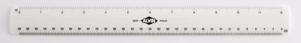 "Alvin 260 Series 12"" White Plastic Flat Engineer Scale"