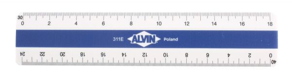 Alvin 310 Series White Plastic Flat Pocket Engineer Scale