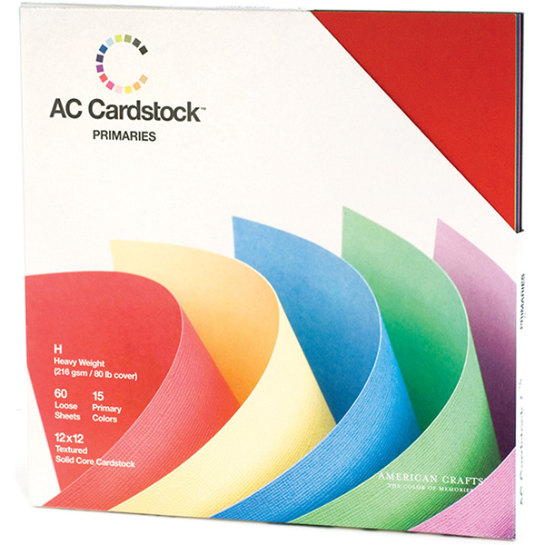 American Crafts - Textured Cardstock Pack - 12x12 60 Pack - Primaries