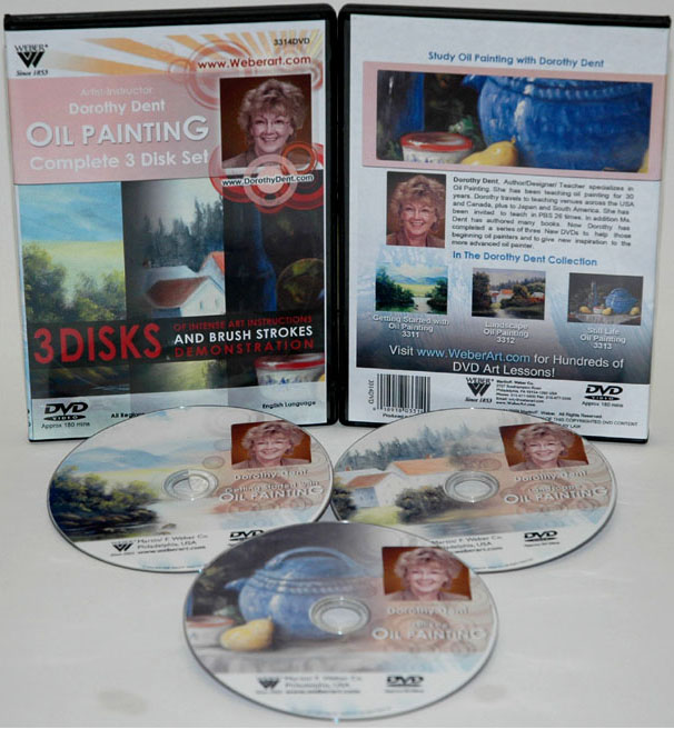 Dorothy Dents 3 Hours, Painting Oil Color complete Set Of DVDs, (3311, 3312, 3313, & 3313)