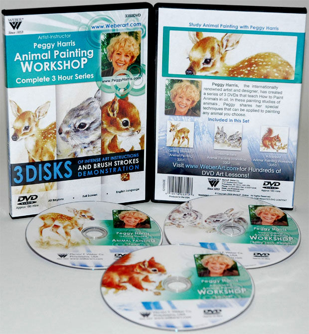 Peggy Harris's 3 Hour,3 DVDs Set of Animal Oil Painting  Fawn, Baby Jack Rabbits and Squirrel,( Includes 3351, 3352, and 3353)