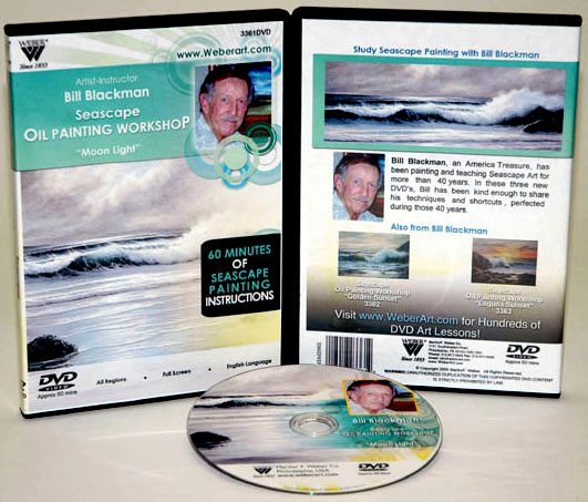 Bill Blackman DVD: Moon Light Seascape, Oil Painting, 1 Hour