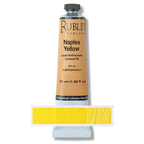 Natural Pigments Rublev Colours Naples Yellow Dark (Lead Antimonate) 50 ml - Color: Yellow