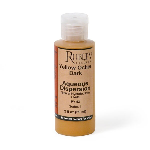 Natural Pigments Rublev Colours Yellow Ocher Dark 2 fl oz - Color: Yellow