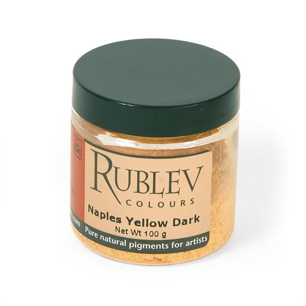 Natural Pigments Rublev Colours Naples Yellow Dark 100 g - Color: Yellow
