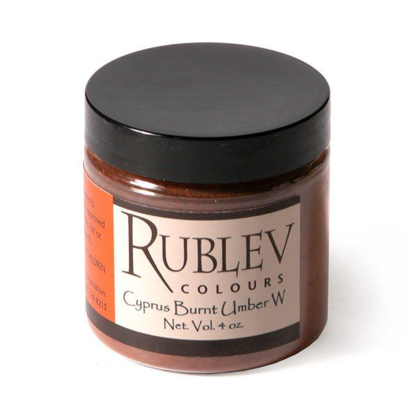 Natural Pigments Rublev Colours Cyprus Burnt Umber Warm (4 oz vol) - Color: Brown