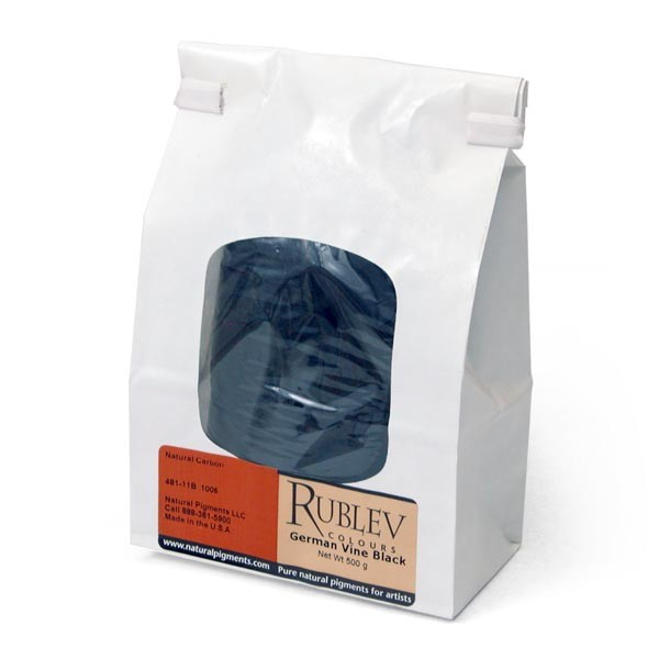 Natural Pigments Rublev Colours German Vine Black 500 g - Color: Black