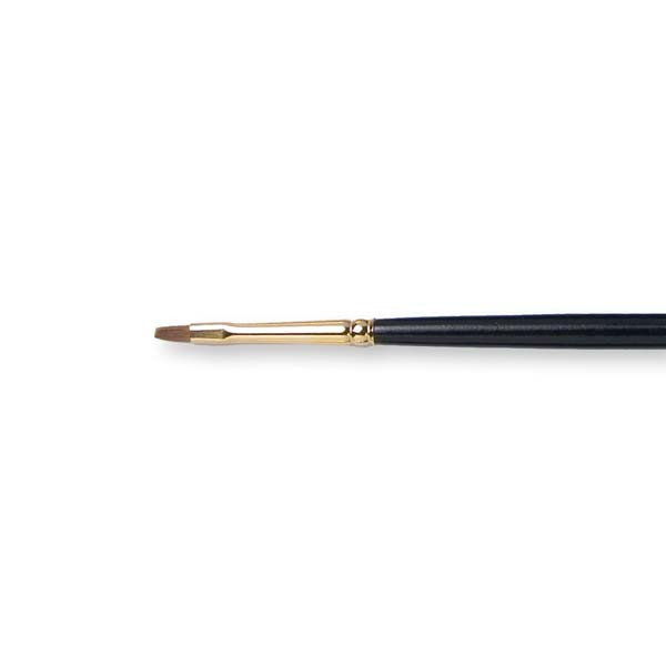 Kolibri Pure Red Sable Bright Brush Size 2 - Brush Style: Bright; Ferrule: Silver-plated brass; Size: 2; Hair Width: 3.1 mm; Hair Length: 6 mm