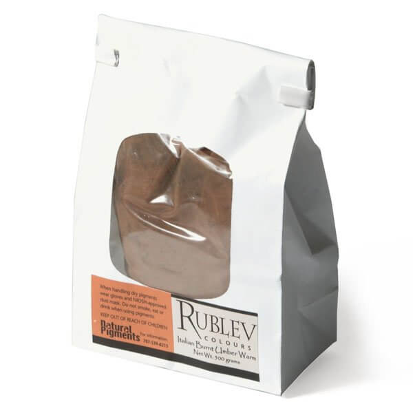 Natural Pigments Rublev Colours Italian Burnt Umber Warm 500 g - Color: Brown