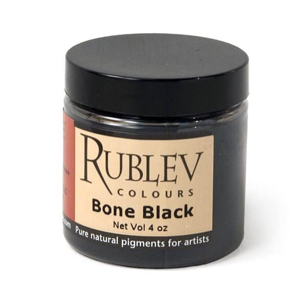 Natural Pigments Rublev Colours Bone Black (4 oz vol) - Color: Black