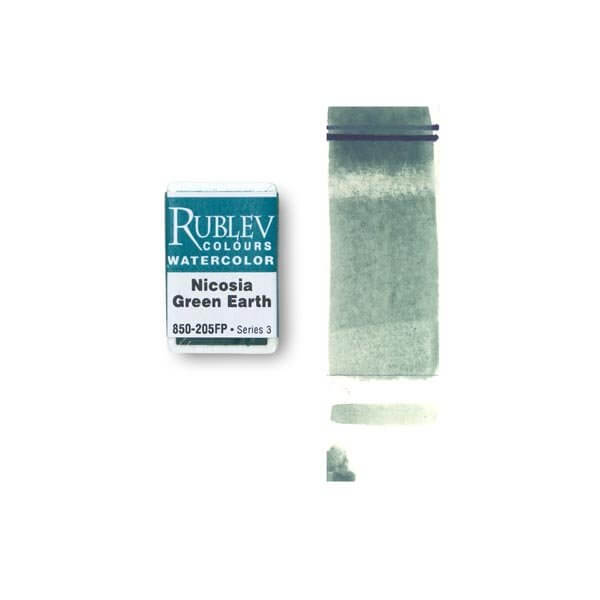 Rublev Colours Nicosia Natural Pigments Nicosia Green Earth (Full Pan) - Color: Green