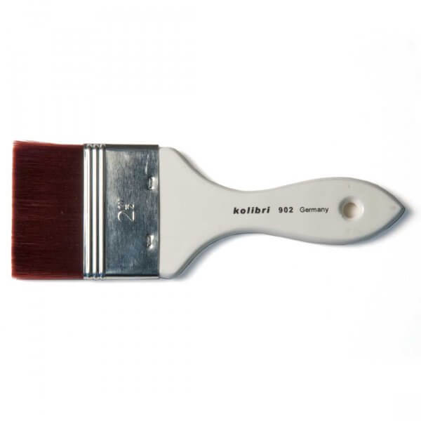 Kolibri Natural Pigments Synthetic Mottler Brush 3-inch - Brush Style: Flat, Mottler; Ferrule: Stainless steel