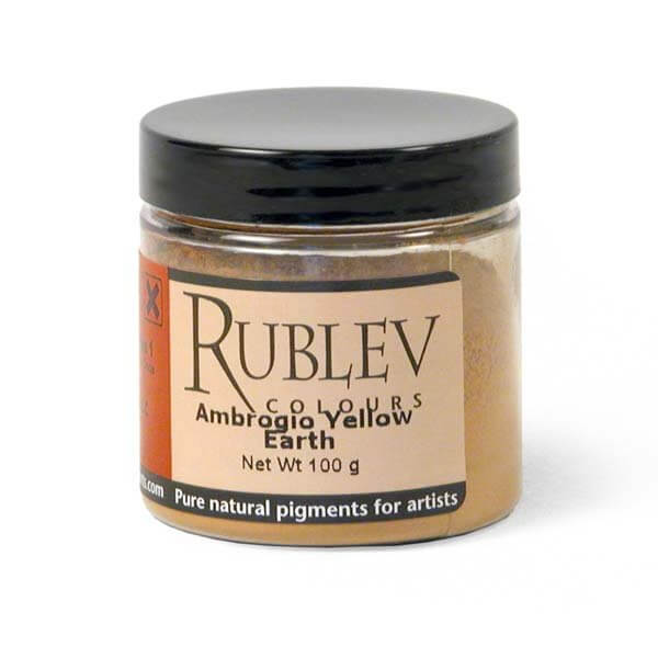 Natural Pigments Rublev Colours Ambrogio Yellow Earth 100 g - Color: Yellow