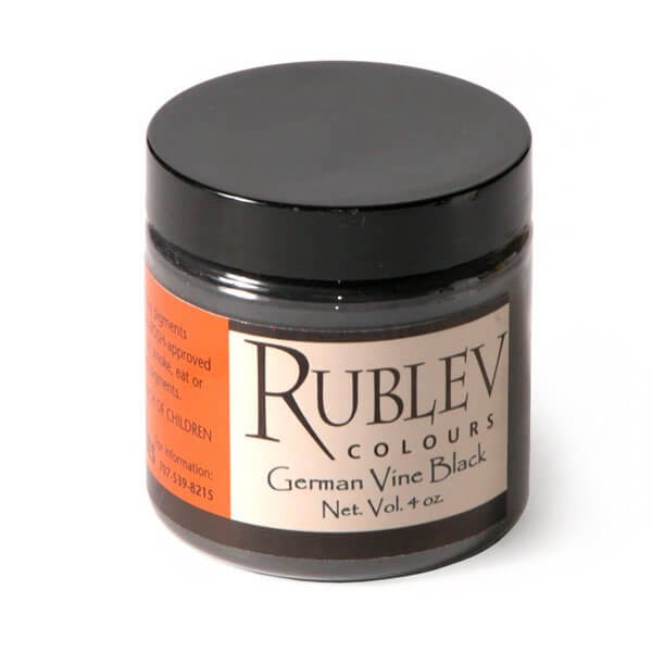 Natural Pigments Rublev Colours German Vine Black (4 oz vol) - Color: Black