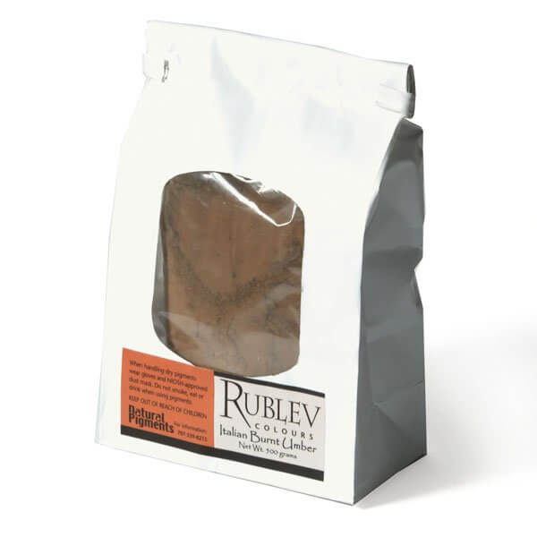 Natural Pigments Rublev Colours Italian Burnt Umber 500 g - Color: Brown