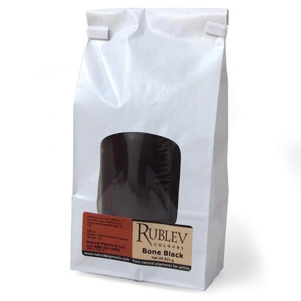 Natural Pigments Rublev Colours Bone Black 500 g - Color: Black