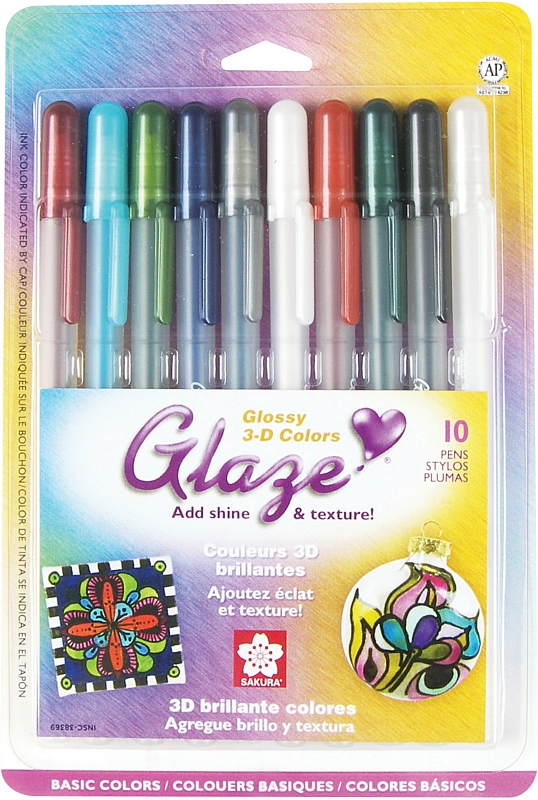 Sakura Glaze 3-D Glossy Ink Pen: Assorted, Pack of 10
