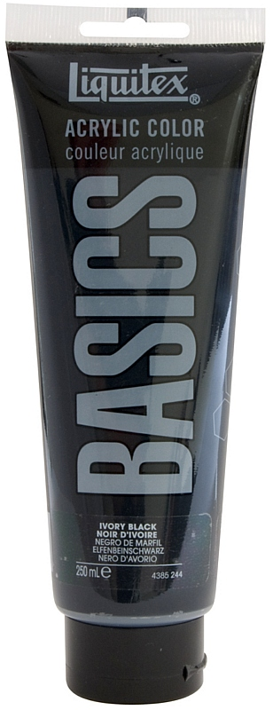 Liquitex® Basics Acrylic Color 250ml Ivory Black: Black/Gray, Purple, Tube, 250 ml, Acrylic