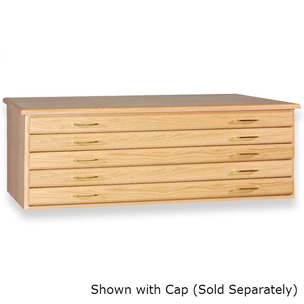 "SMI Natural Oak Finish 5 Drawer Flat File: 32"" x 42"" x 19"""