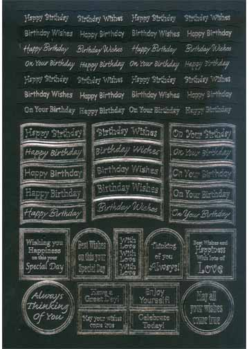 Craft UK Caption - Birthday Silver Foil/black