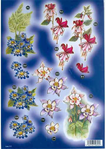 Craft UK - Bright Blue Daisies & Bleeding Hearts in gold