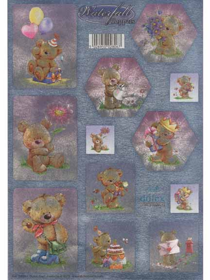 Dufex Metallic Teddy Bear Greetings Waterfall Toppers