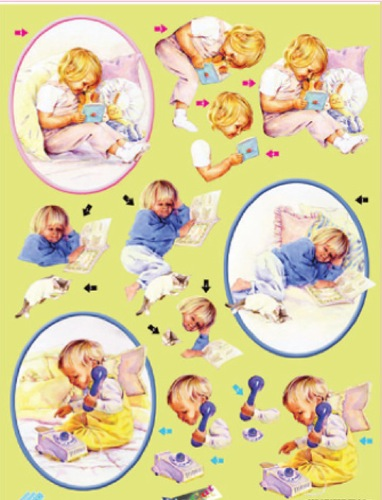 Metallic Precut 3D sheet - Young Children Playing