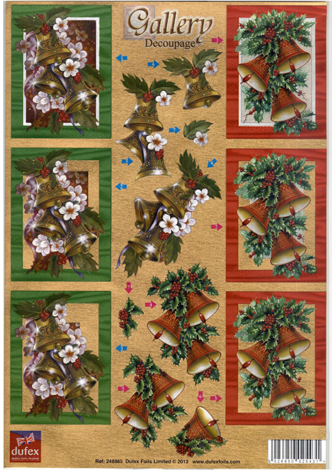 Dufex 3-D precut Foil - Christmas Bells and Holly