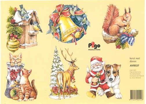 Santa with Animals 3D cutting sheet