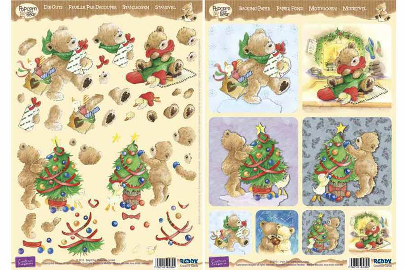 3D Precut Popcorn Bears Christmas Tree and Presents