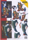 Ecstasy Crafts Oriental Greetings Print - Geisha Girl/bird