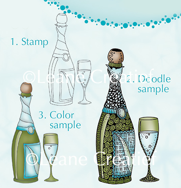 Doodle clear stamp Champagne.