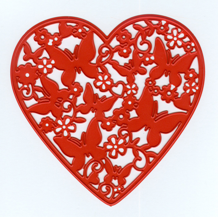 Joy! Crafts Cutting and Embossing Die - Sending Love - heart filled with butterflies