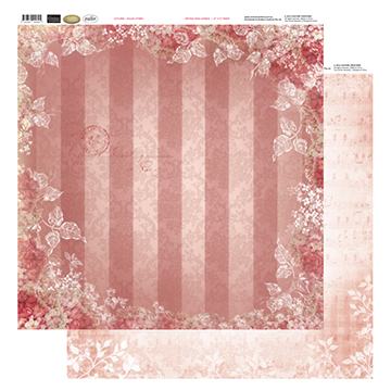 12x12 Patterned Paper - Rouge Stripes - Vintage Rose Collection (5)