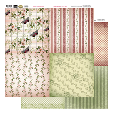 12x12 Patterned Paper (8 Designs) - Butterflies & Stripes - Vintage Rose Collection (5)