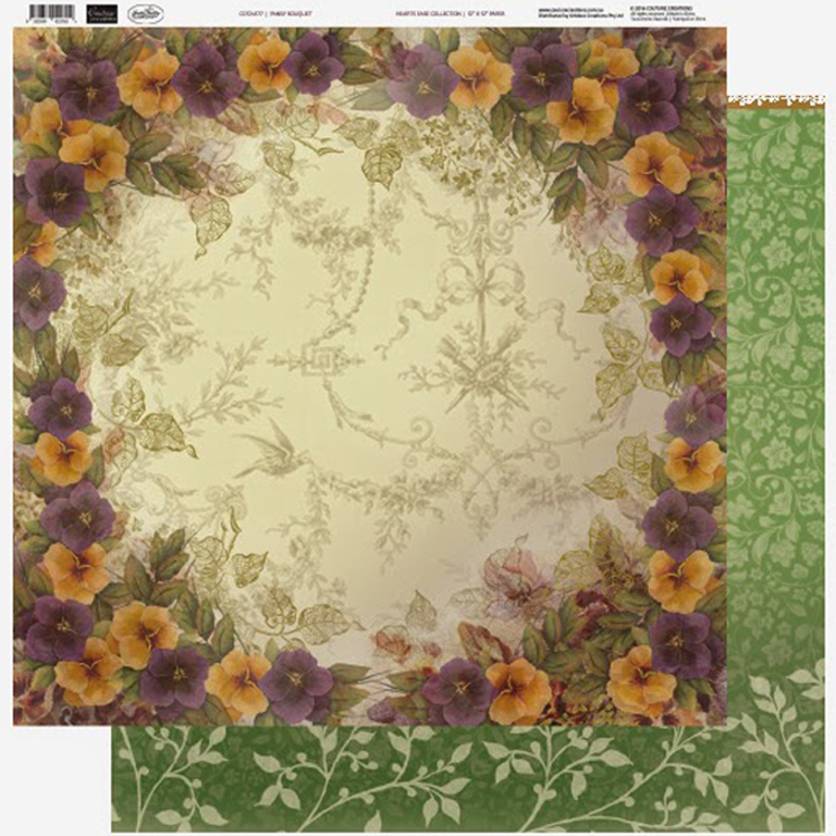 Couture Creations - 12 x 12 Paper (5 sheets) - Pansy Bouquet