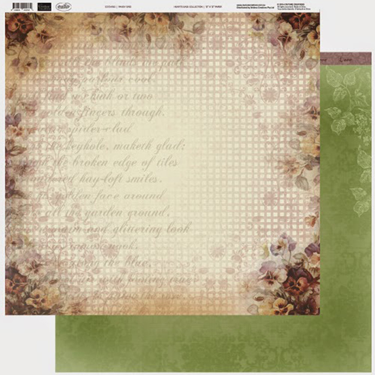 Couture Creations - 12 x 12 Paper (5 sheets) - Pansy Grid