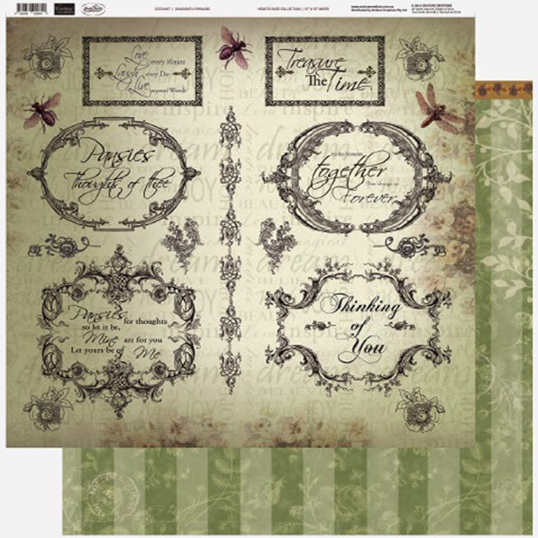 Couture Creations - 12 x 12 Paper (5 sheets) - Dragonfly Phrases