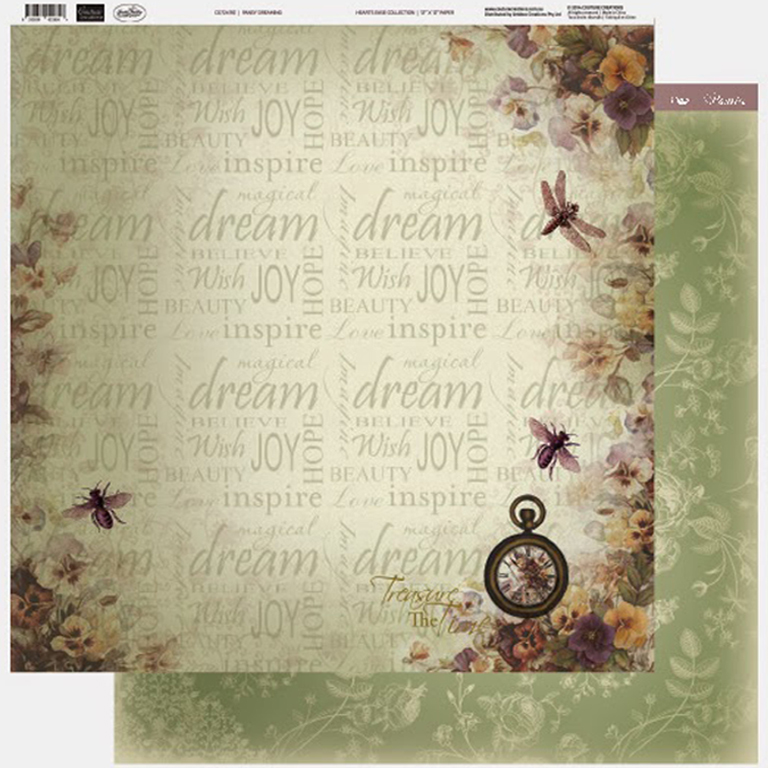 Couture Creations - 12 x 12 Paper (5 sheets) - Pansy Dreaming